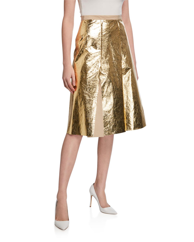 N°21 Skirts PLEATED METALLIC SKIRT