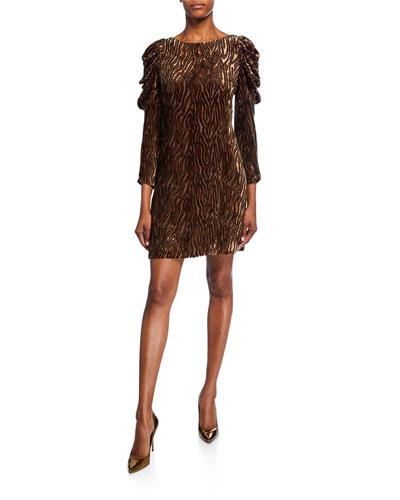 Alex Bateau-Neck Ruched Long-Sleeve Dress