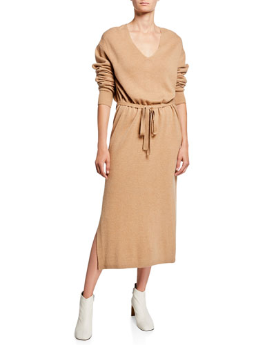 V-Neck Long-Sleeve Side-Slit Midi Dress