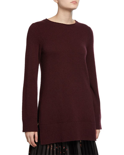 Crewneck Side-Slit Cashmere Tunic
