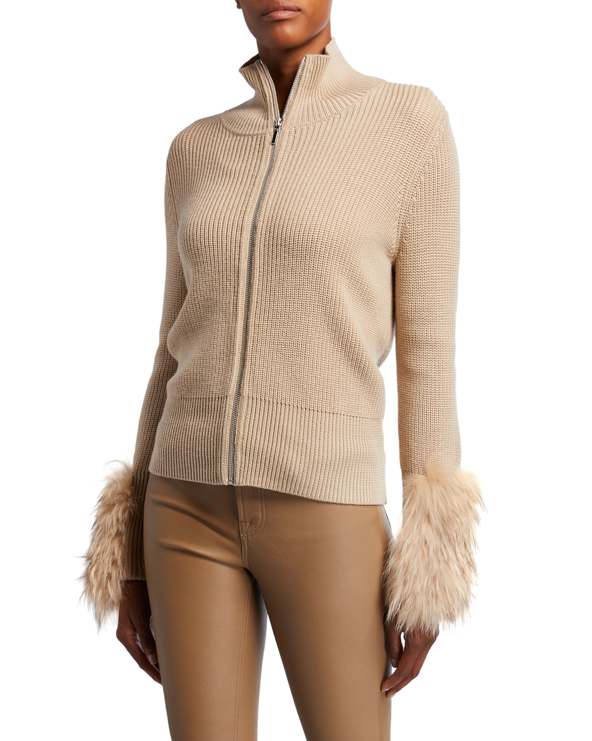 Elie Tahari Sweaters NORAH ZIP-FRONT WOOL SWEATER WITH FUR CUFFS