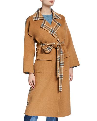 Meryl Check Wool Long Coat
