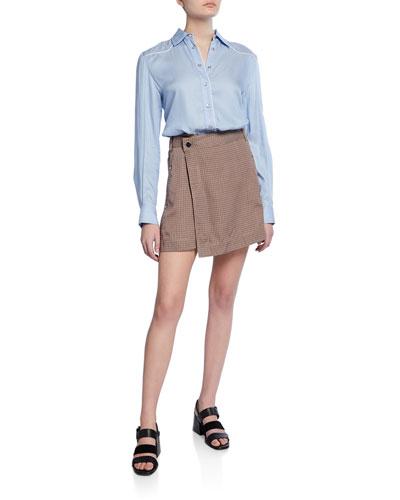 Mixed Media Shirt Dress with Wrap Skirt