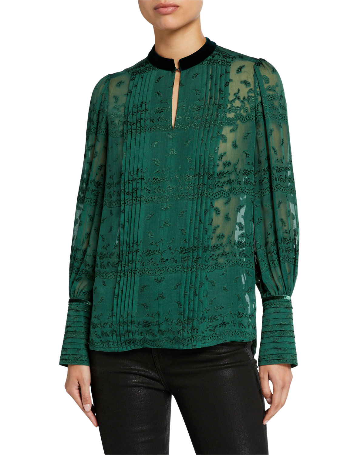Elie Tahari Tops LACI EMBROIDERED LONG-SLEEVE PINTUCKED BLOUSE W/ MANDARIN COLLAR
