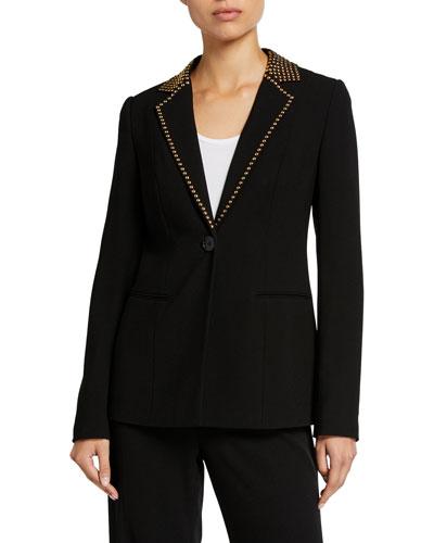 Stella One-Button Stud-Trim Jacket