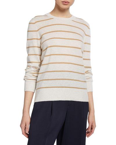 Striped Overlay Cashmere Crewneck Sweater