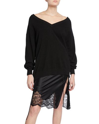 Oversized Long-Sleeve Pullover with Sheer Yoke