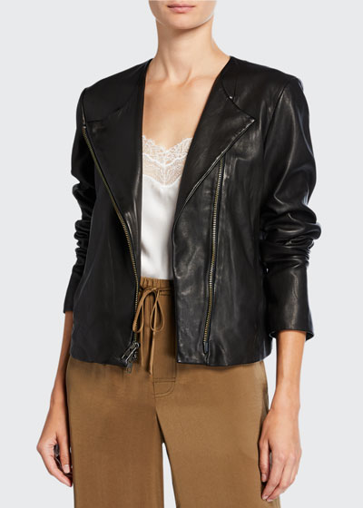 Cross-Front Leather Moto Jacket