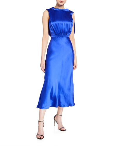Fleur Silk Tie-Back Midi Dress