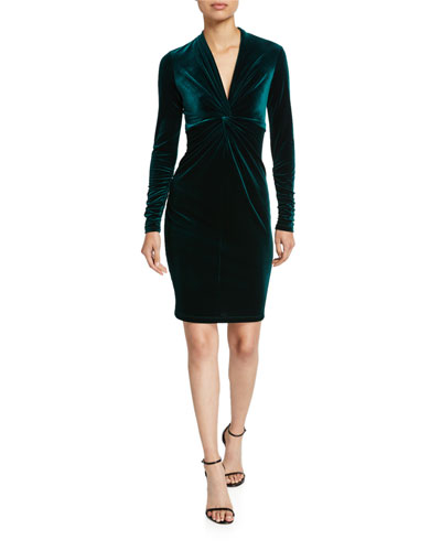 Cynthia Twist-Front Long-Sleeve Velvet Dress