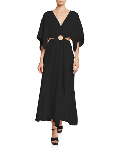 Crepe A-line Cutout Maxi Dress