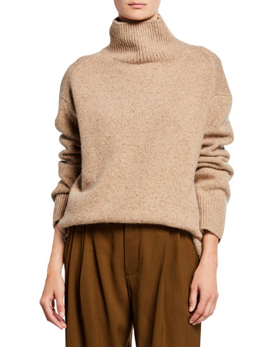 Cashmere Double-Slit Turtleneck Sweater