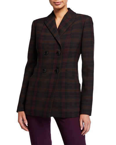 Launie Plaid Double-Breasted Jacket