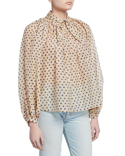 Polka Dot Cotton-Silk Tie-Neck Blouse