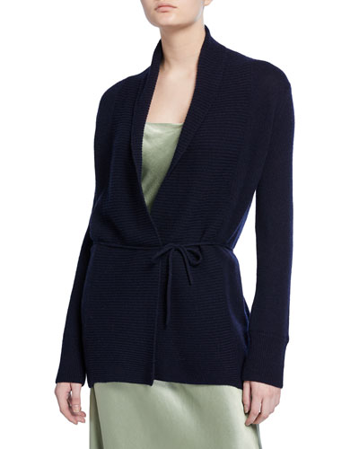Rib-Front Wool Cardigan with Waist Tie