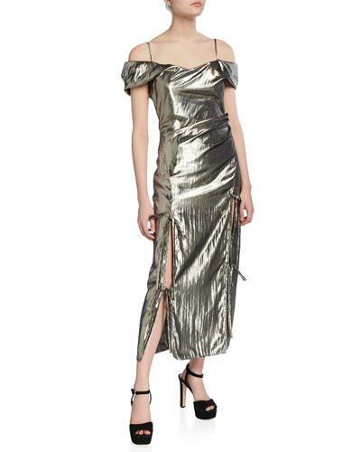 Adeline Metallic Off-Shoulder Cocktail Dress