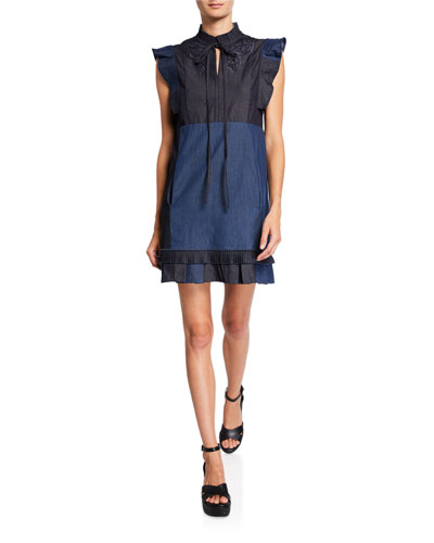 Denim Patchwork Dress with Broderie Anglaise