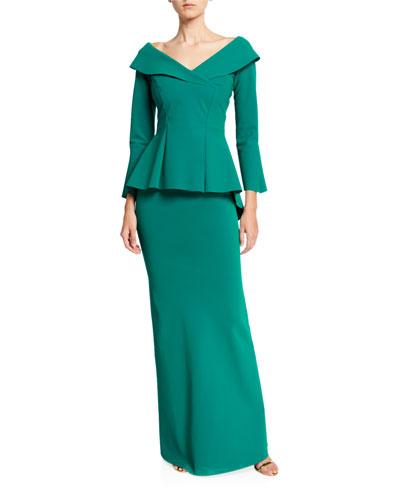 V-Neck Bracelet-Sleeve Peplum Gown