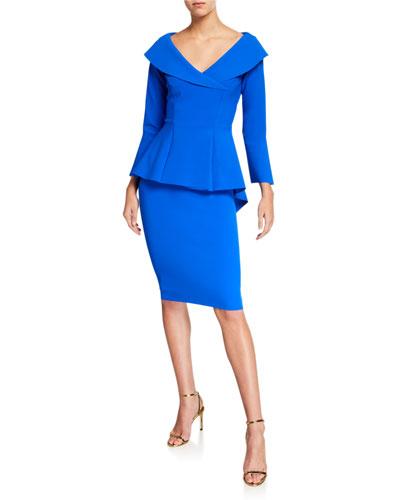V-Neck High-Low Peplum Cocktail Dress