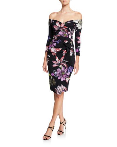 Floral Off-the-Shoulder 3/4-Sleeve Cocktail Dress