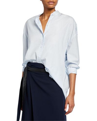 Raw-Edge Long-Sleeve Button-Down Shirt