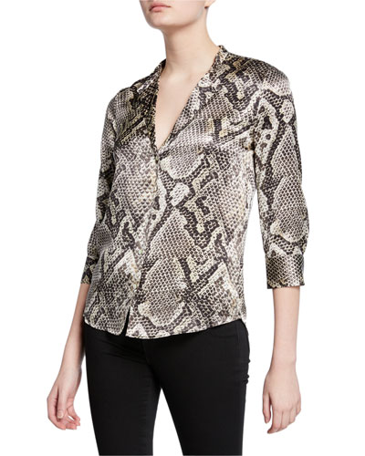 276206da6da082 Aoki Python-Print Button-Down Silk Blouse Quick Look. L'Agence