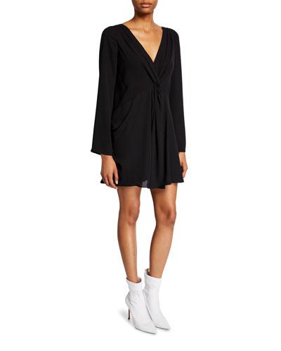 Cecil Gathered Long-Sleeve Shift Dress