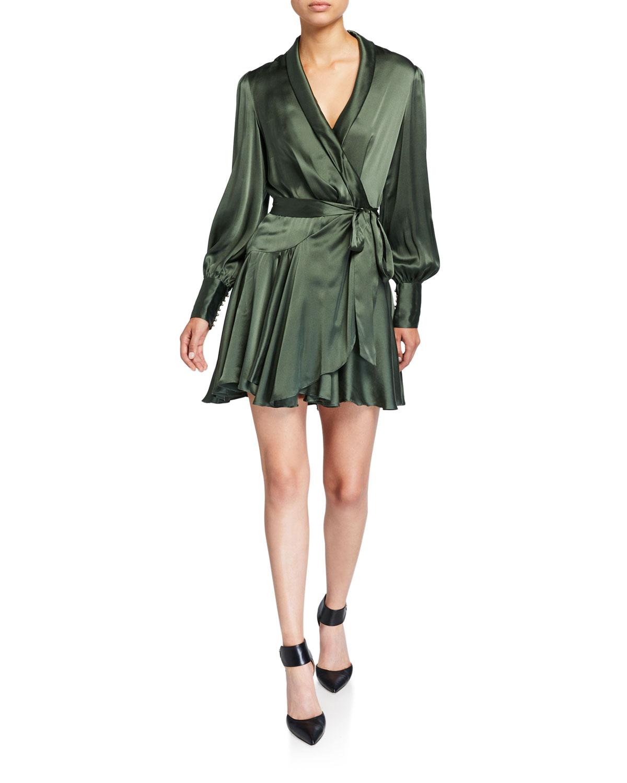 Zimmermann Dresses ESPIONAGE LONG-SLEEVE SILK MINI WRAP DRESS