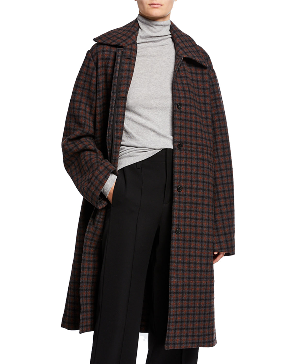 Vince Coats BELTED CHECK WOOL COAT