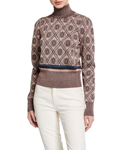 Weston Metallic-Wool Turtleneck Sweater