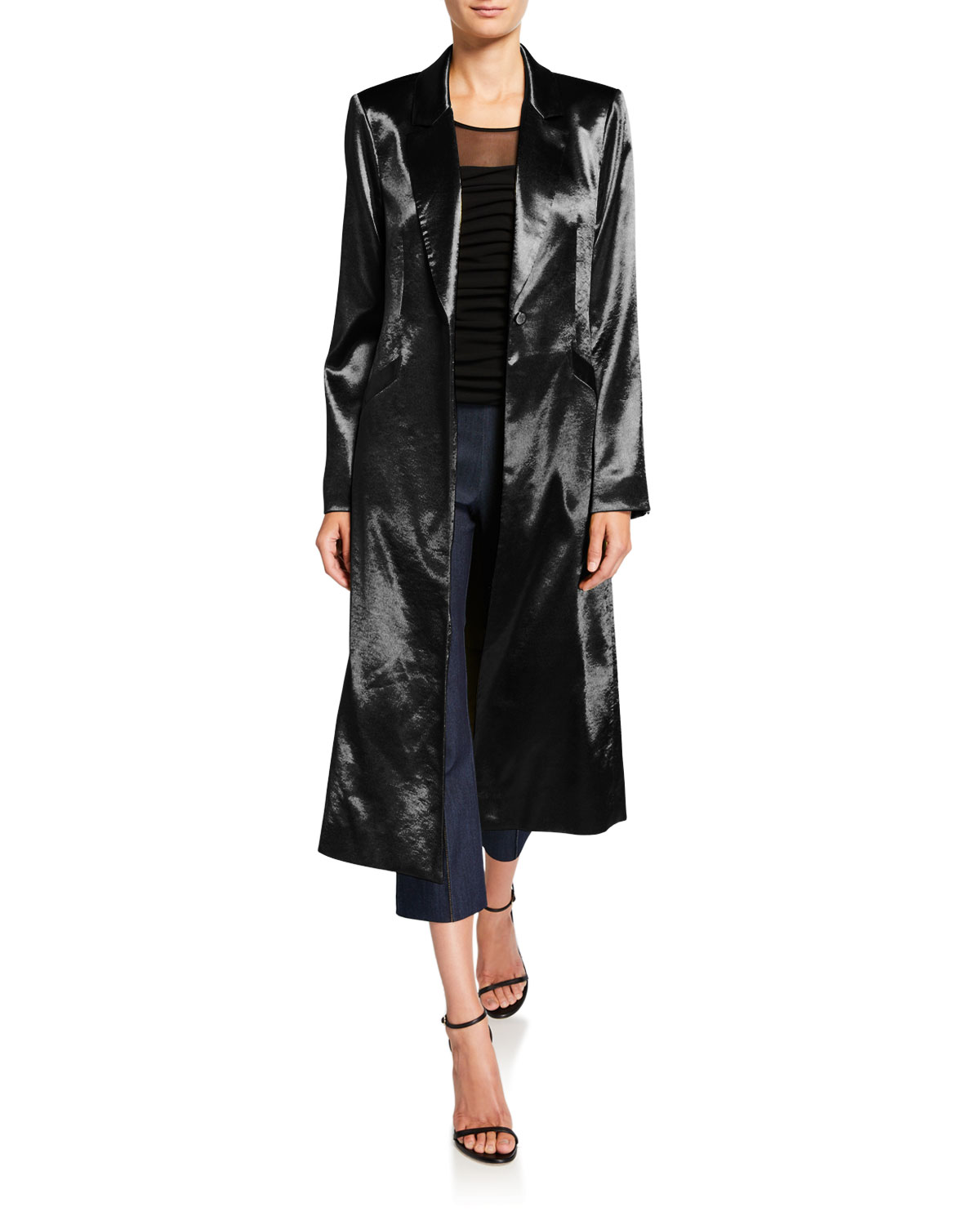 Vicky Satin Single-Button Duster Coat