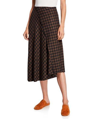 Check Plaid Wool Draped Skirt