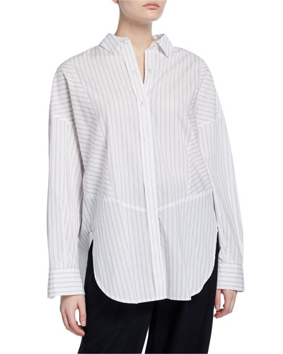 Paneled Striped Button-Down Shirt