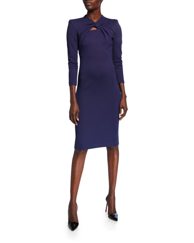 Milano Jersey Knotted-Neck Bodycon Dress