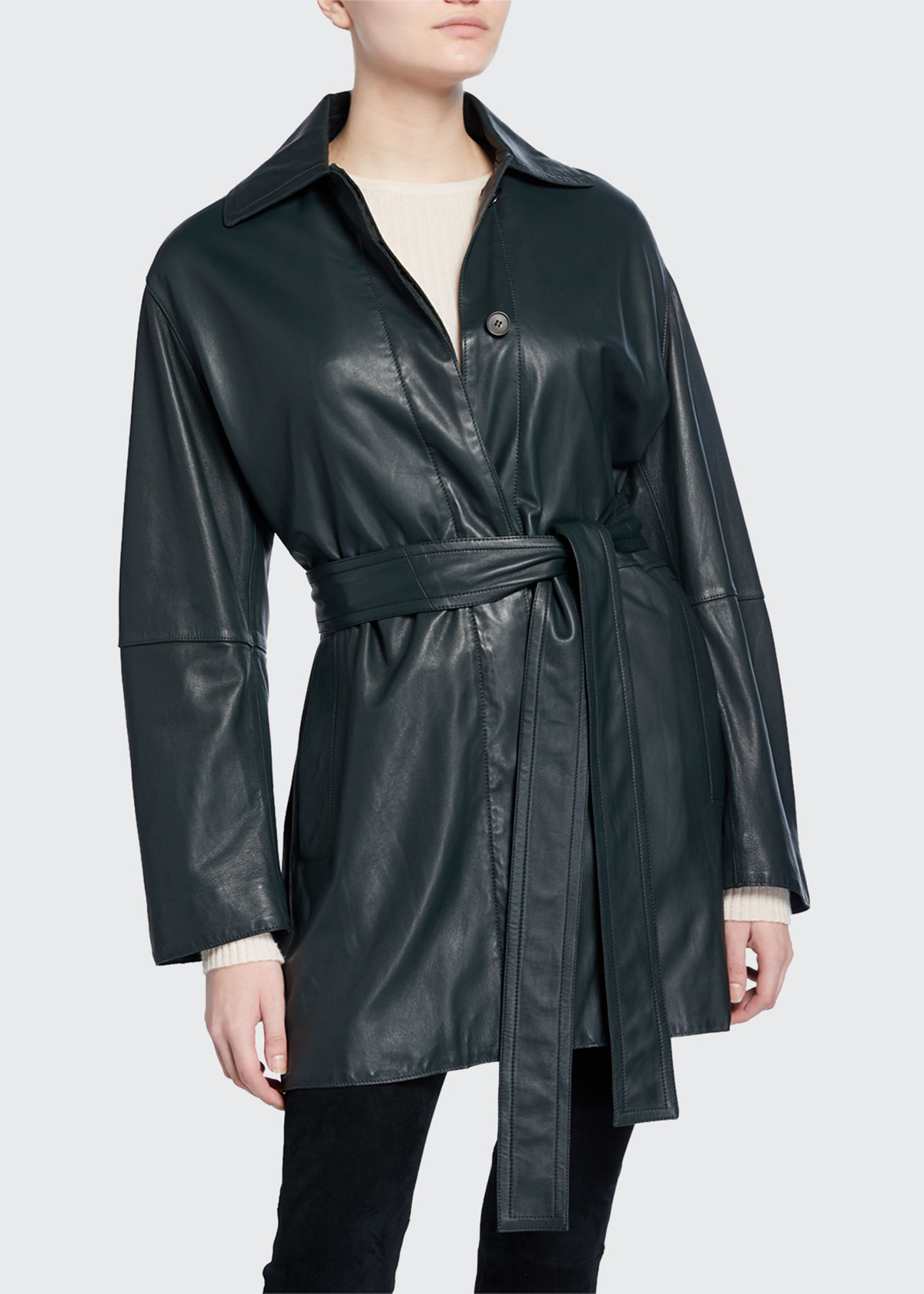 Vince Coats BELTED LEATHER TRENCH COAT