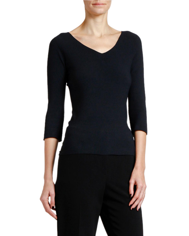 Giorgio Armani Sweaters 3/4-SLEEVE MOSS-STITCH V-NECK SWEATER