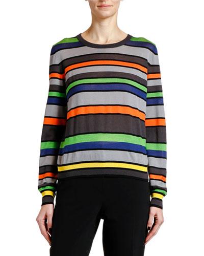 Silk-Cashmere Striped Knit Sweater