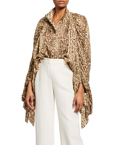 Espionage Animal-Print Batwing Blouse