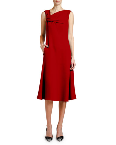Techno Crepe Asymmetric-Neck Dress