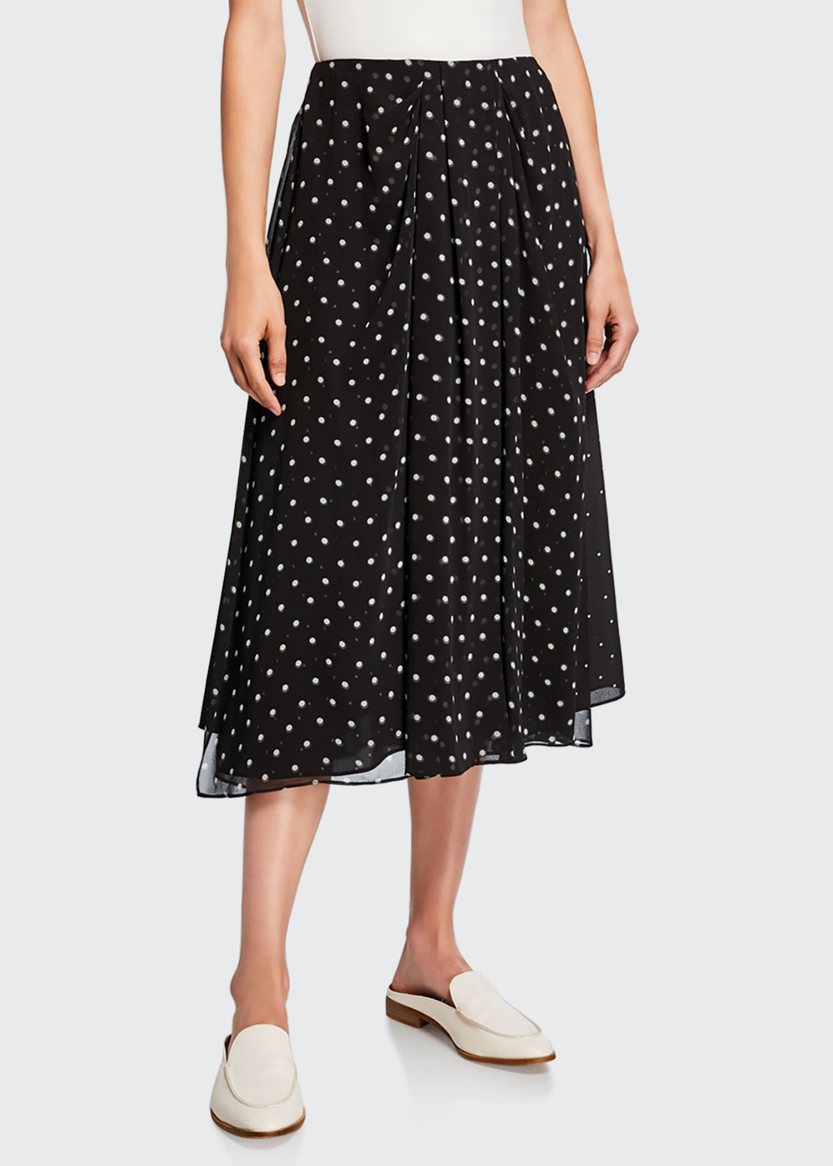Vince Skirts MIXED MEDIA DOT-PRINT MIDI SKIRT
