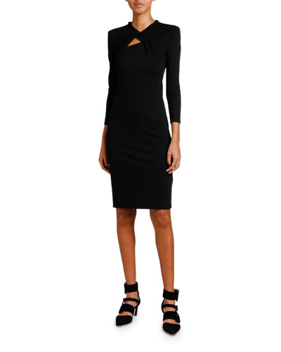 Keyhole-Front 3/4-Sleeve Milano Jersey Dress
