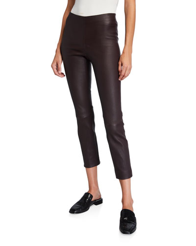 Stitch Back Cropped Leather Leggings