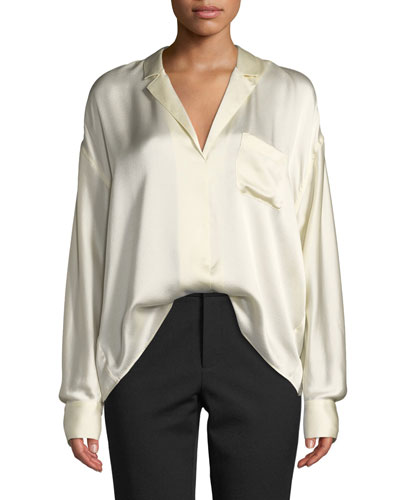 Long-Sleeve Silk Pajama Popover Blouse