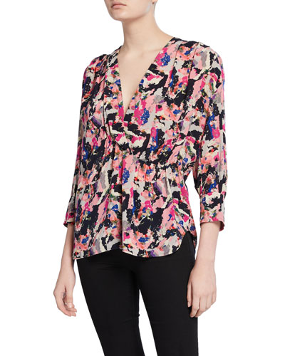 Bixie Printed 3/4-Sleeve Top
