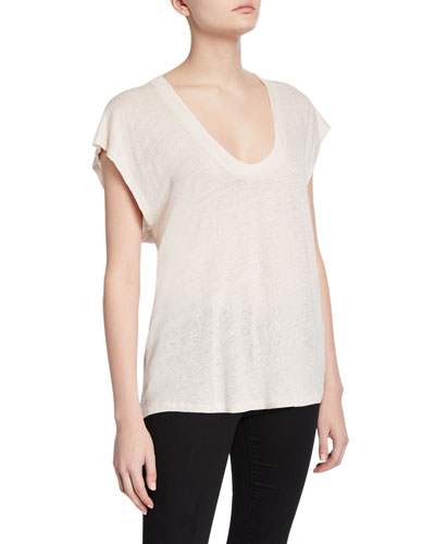 Dirk Linen Scoop-Neck Tee