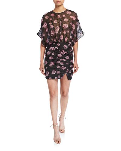 Grandela Sheer Floral Ruched Mini Dress