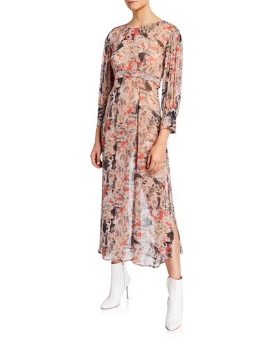 Norma Printed Scoop-Neck Midi Dress
