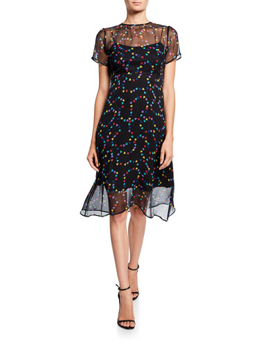 Lindy Hearts Silk Chiffon Dress w/ Slip
