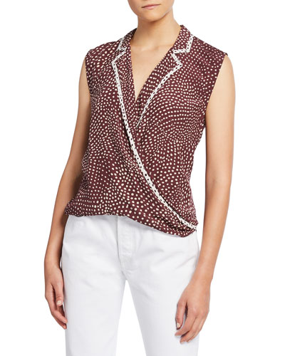 Dean Dot-Print Sleeveless Wrap Top