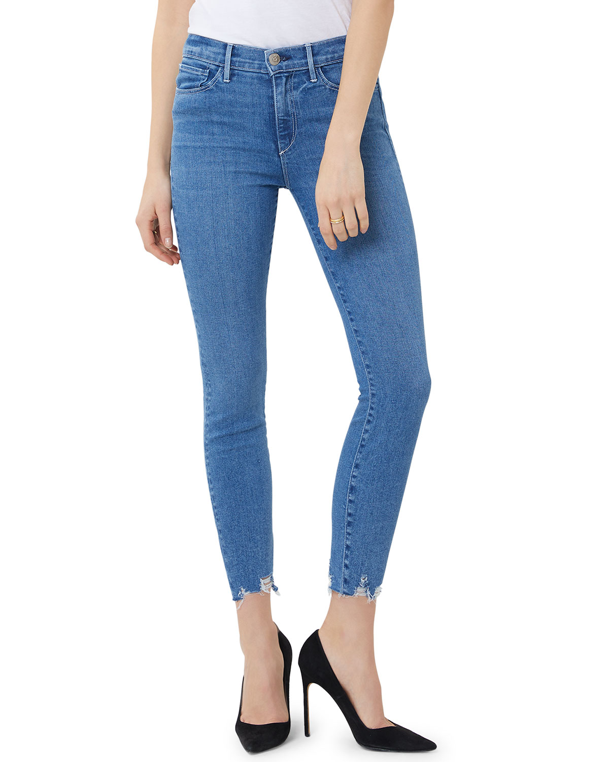 3x1 Jeans MID-RISE SKINNY CROP JEANS WITH CHEWED HEM